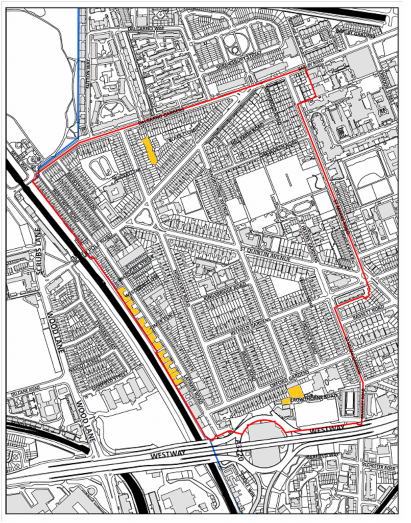Map showing allocated housing sites at  142a Highglever Road (top)  Latimer Road (above commercial) 3-5 Crowthorne Road (bottom)