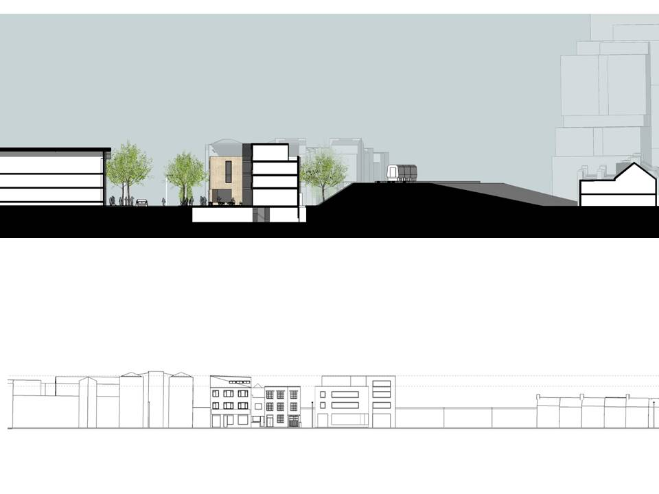 Section and elevation of potential housing above commercial spae at Units 1-14 Latimer Road