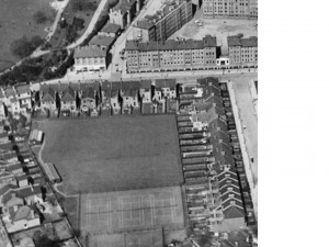 Aerial view of the backland in 1931, showing the Ashfield Tennis Club (from the Britain from the Air series'
