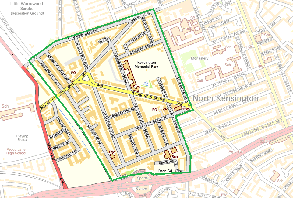The St Quintin and Woodlands Neighbourhood Area, as designated within Kensington and Chelsea