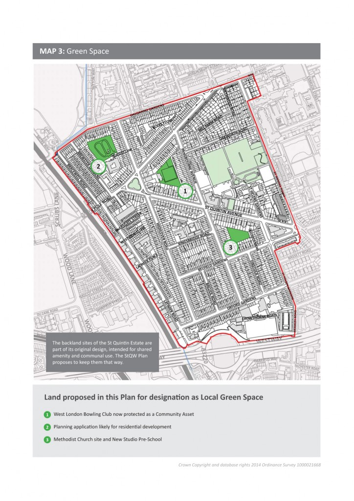 Open spaces proposed for designation as Local Green Space shown in dark green