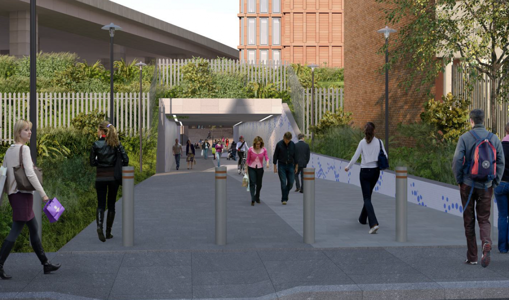 Image of Latimer Road entrance to proposed underpass.  The £4m funding for the project forms one of the S106 'community benefits' from the Imperial West development.